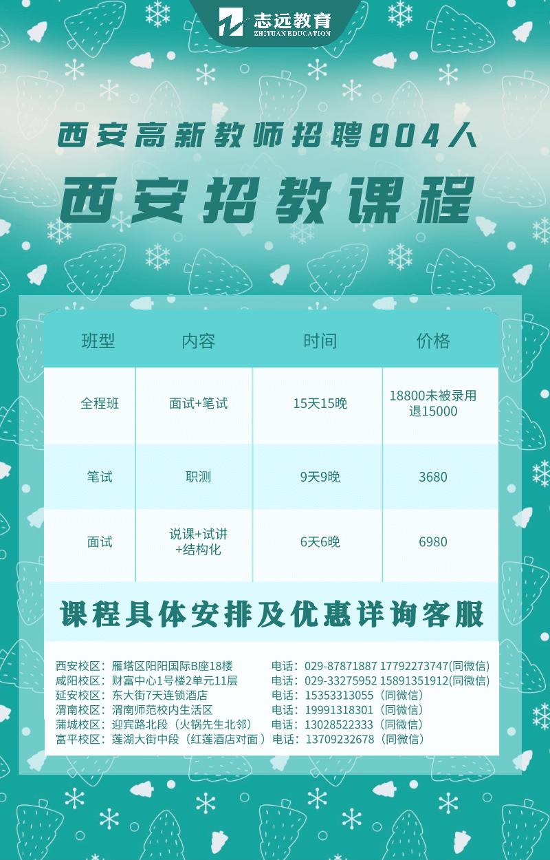 西安高新招教804人课程安排(图1)